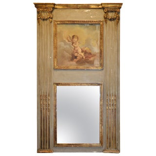 Louis XVI French Trumeau Parcel-Gilt Mirror For Sale