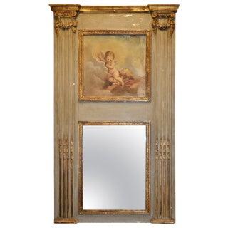 Louis XVI French Trumeau Parcel-Gilt Mirror For Sale