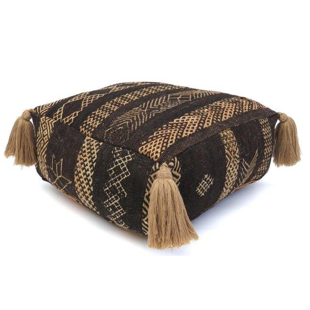 Vintage Black Moroccan Pouf For Sale - Image 11 of 11