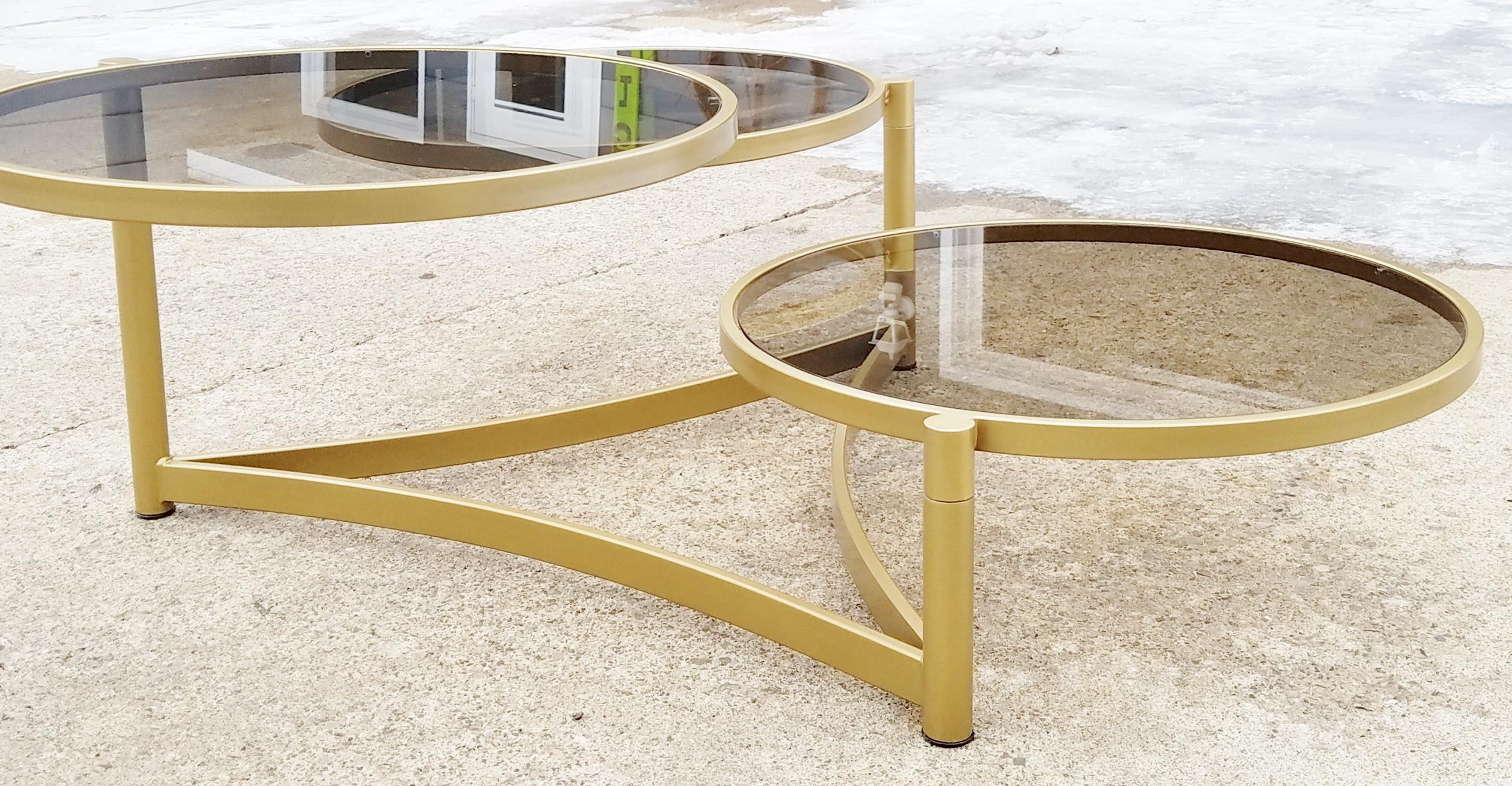 milo baughman tri level gold and glass swivel coffee table | chairish