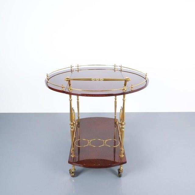 Aldo Tura Adjustable Brown Parchment Brass Bar Cart, 1960 For Sale - Image 6 of 13