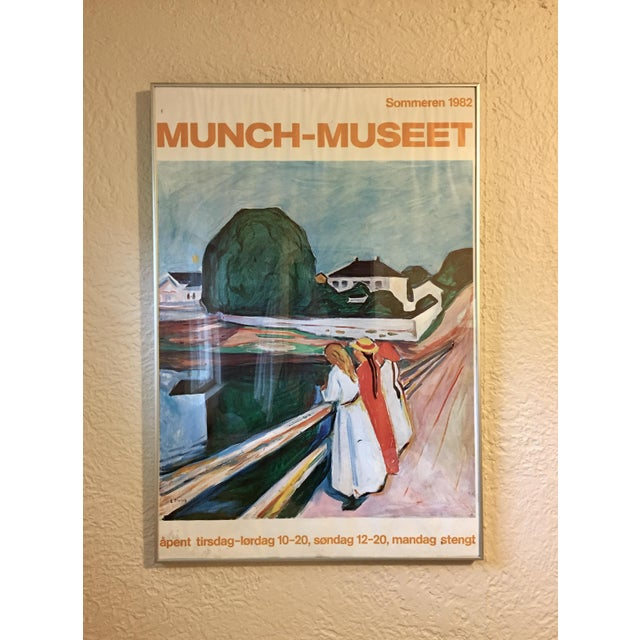 Framed 1982 Edward Munch promotional exhibition print for the Munch Museum in Oslo, Norway. This very rare poster features...