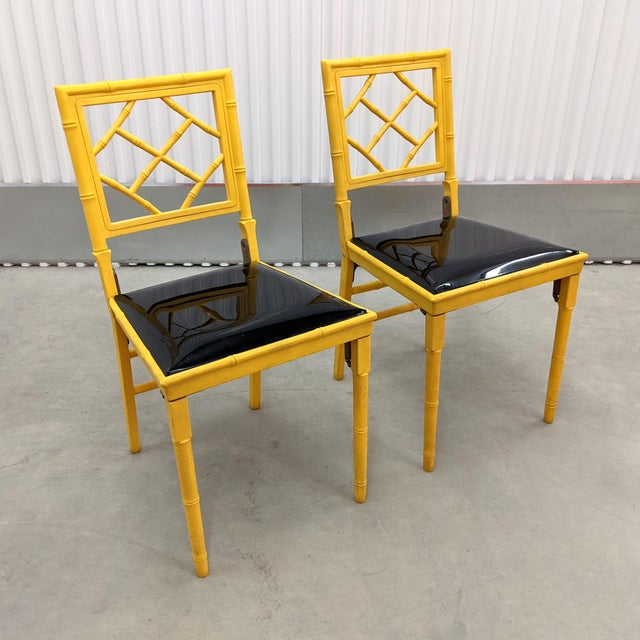 Hollywood Regency 1970s Hollywood Regency Faux Bamboo Folding Chairs - a Pair For Sale - Image 3 of 11