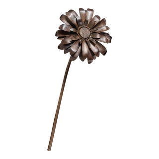 Gerber Daisy Flower - Antique Copper by Robert Kuo, Hand Repousse, Limited Edition For Sale