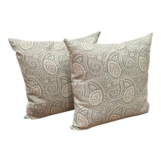 Peter Fasano Fabric Paisley Pillows - A Pair For Sale