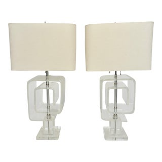 1940s Mid-Century Modern Les Prismatiques Lucite Table Lamps - a Pair For Sale