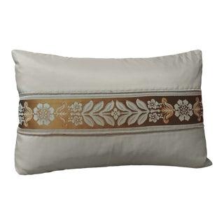 French Peach Silk Ribbon Lumbar Decorative Pillow For Sale