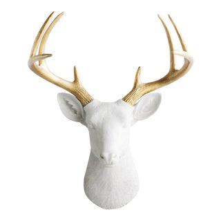 Wall Charmers Deer in White & Gold Antler For Sale
