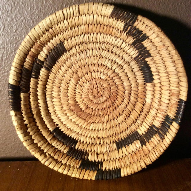 Mid Century Papago Native American Style Coil Basket For Sale - Image 4 of 4