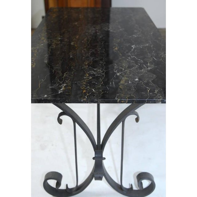 Metal Italian Wrought Iron and Black Marble Dining Table For Sale - Image 7 of 10