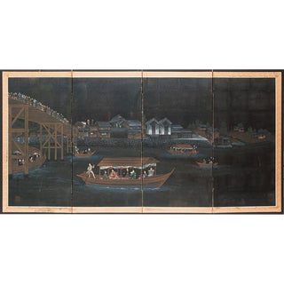 19th C. Night River Japanese Byobu Screen