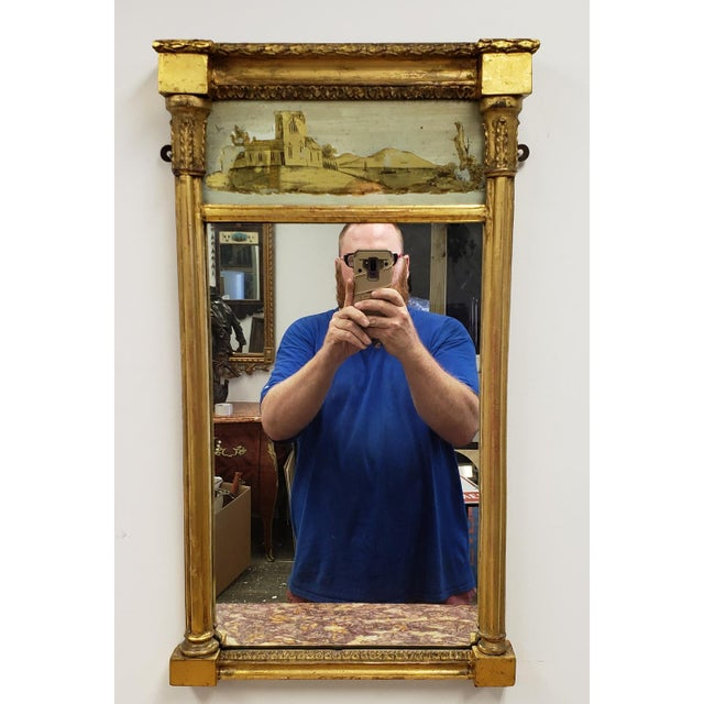 Giltwood Antique Federal 19th Century Giltwood Eglomise Reverse Painted Gold Leaf Hanging Wall Mirror For Sale - Image 7 of 7