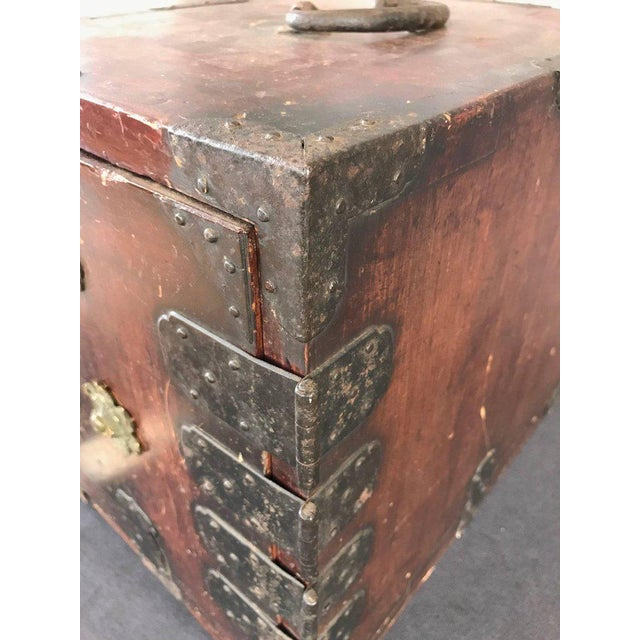 Antique Compact Chinese Seaman's Chest With Locks and Key For Sale - Image 9 of 13
