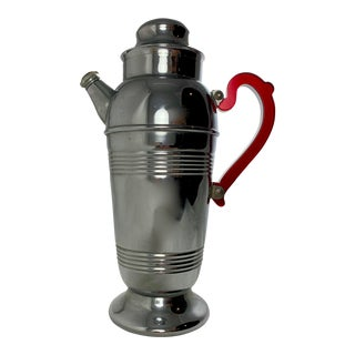 Mid-Century Modern Chrome & Ruby Red Bakelite Ribbed Cocktail Shaker For Sale