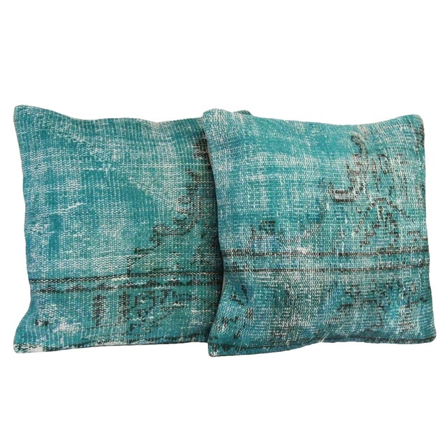 Turquoise Overdyed Pillow Covers - A Pair - Image 1 of 6