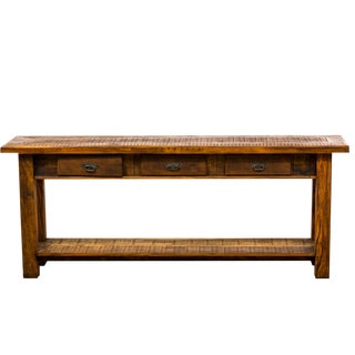 Rustic Reclaimed Wood 3 Drawer Console Table