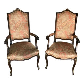 A Pair of Louis XV Style French Chairs With Etro Upholstery