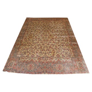 "Vintage Karastan Kerman Floral Rug- 11'4""x12' For Sale"