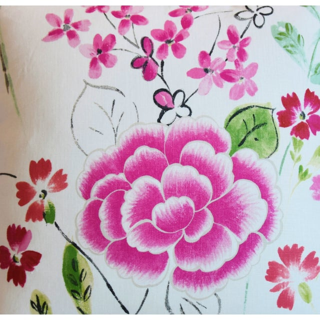 "French Manuel Canovas Floral Linen Feather/Down Pillows 20"" Square - Pair For Sale - Image 4 of 13"