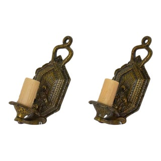 Early 20th Century Arts and Crafts Single Arm Bronzed Sconces - a Pair For Sale
