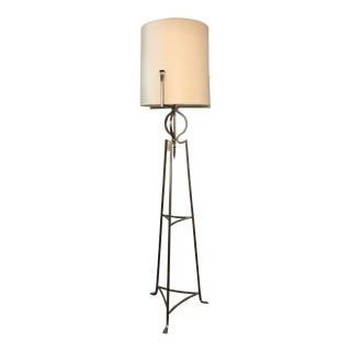 Century Polished Steel Floor Lamp For Sale