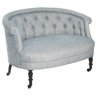 Petite French Napoleon III Round Scroll Back Sofa For Sale