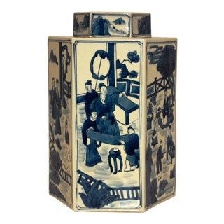 Blue and White Chinoiserie Ceramic Vase
