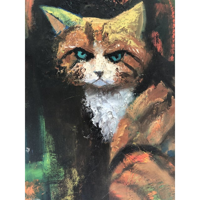Portraiture The Angry Cat Original Oil on Board C.1940s For Sale - Image 3 of 6