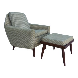 Mid Century Modern Lounge Chair and Ottoman With Teak For Sale