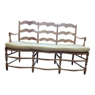 Charming French Distressed Bench with Cushion For Sale