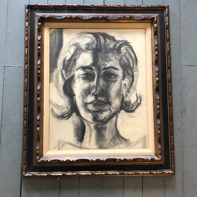 1960s Original Vintage Female Portrait Charcoal Study Drawing Carved Mid Century Frame For Sale - Image 5 of 5
