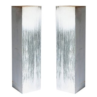 Pair of Zinc Coated Pillars For Sale