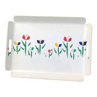 Vintage 70's Preppy Melamine Serving Bar Tray For Sale