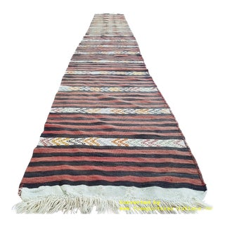 1980s Hallway and Stair Runner Handmade Pastel Color Striped Kilim Rug - 6′ × 18′4″ For Sale