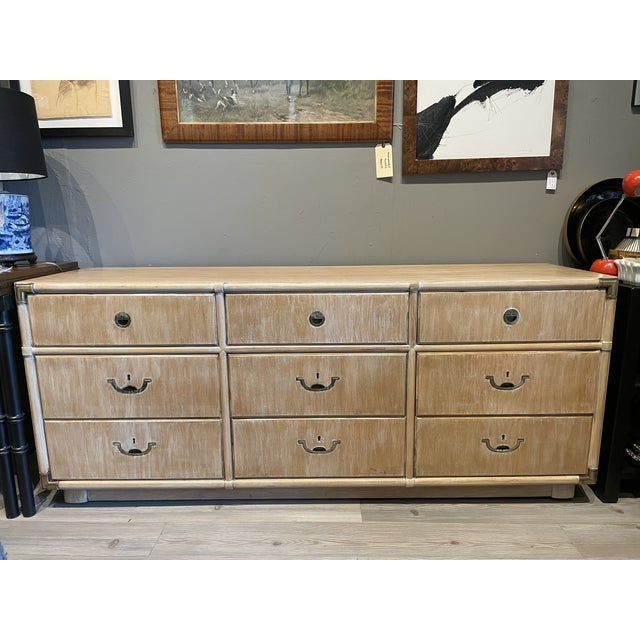 American Drexel Heritage credenza from Accolade collection circa 1970's. 9 compartment hard wood with brass accents and...