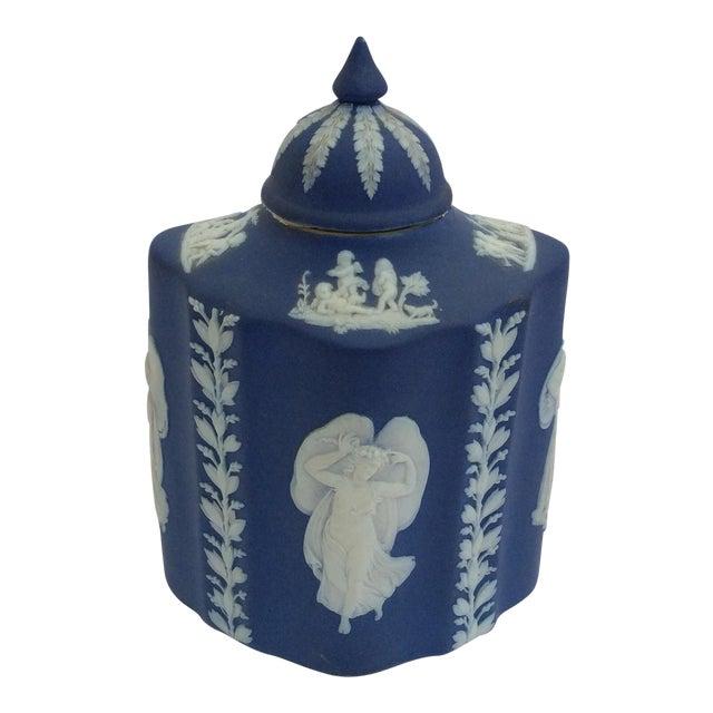 Blue & White Wedgwood Tea Caddy - Image 1 of 6