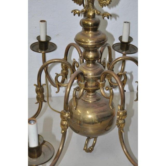 Six Arm Brass Berunda Chandelier c.1940s For Sale - Image 5 of 5