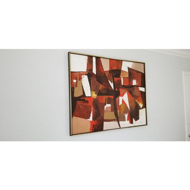 For your pleasure: This is a great vintage mid century modern expressionist abstract cubist shape acrylic on canvas...