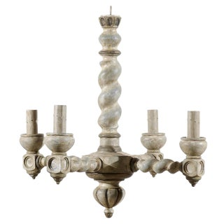 French Barley Twist Central Column Wood Chandelier With Four Lights For Sale