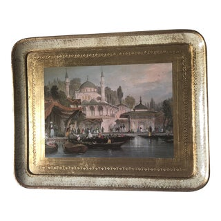 Fountain of Ahmet III Italian Gold Gilded Tray For Sale