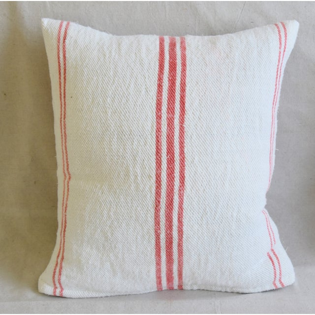 """French Homespun Rose/Pink Striped Grain Sack Feather/Down Pillows 19"""" X 21"""" - Pair For Sale - Image 4 of 13"""