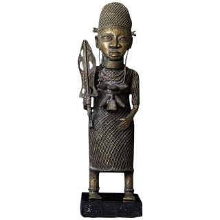 19th Century Benin Bronze Sculpture of a Warrior For Sale
