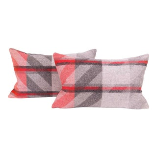 Red Plaid Lambswool Lumbar Pillow Cover (Pair) For Sale