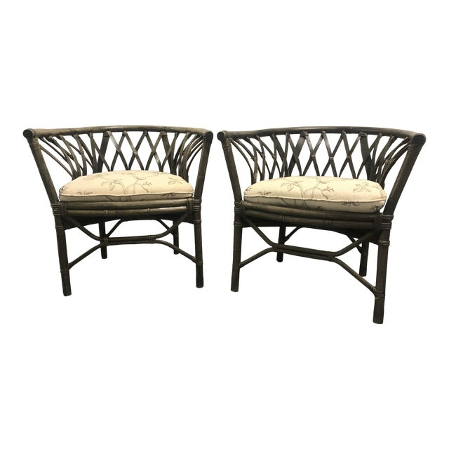 1970s Hatched Rattan Chairs - a Pair For Sale