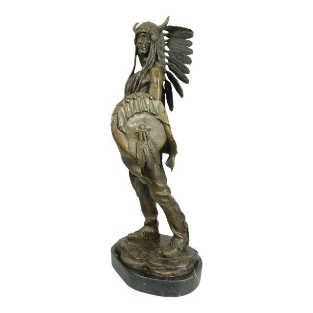 Apache Native American Warrior Bronze Statue For Sale