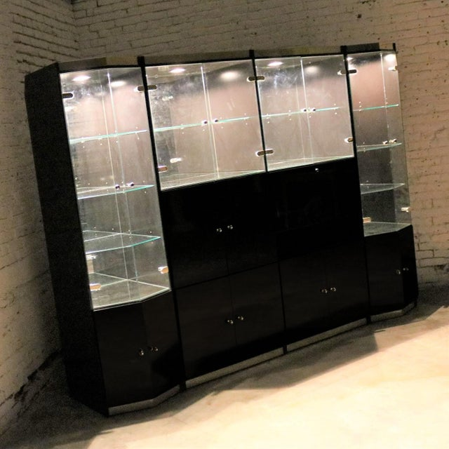 Italian Black Laminate Glass and Brass 4 Piece Modular Freestanding Wall Unit Display Cabinet For Sale - Image 4 of 11