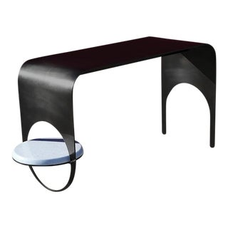 Contemporary Blackened Steel With Blue Marble Shelf Thin Table 2 For Sale