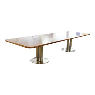 Contemporary Modern Custom Walnut Chrome Dining Conference Table Pace Style 80s For Sale