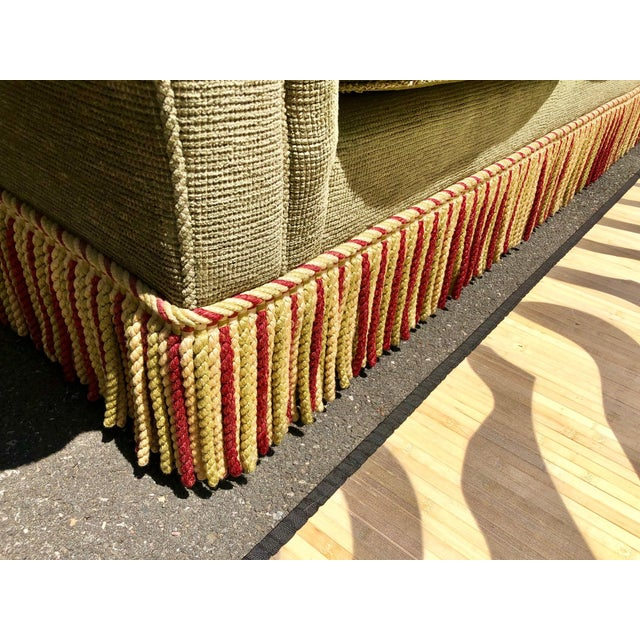 Fabric 1990s Vintage Edward Ferrell Green Fringe Sofa For Sale - Image 7 of 13