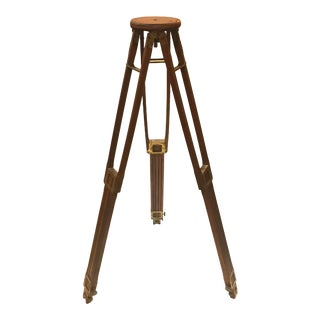 1903 Antique Folmer Graflex Brass and Wood Extendable Crown Tripod For Sale